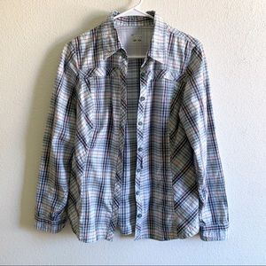 Columbia blue and orange plaid button up